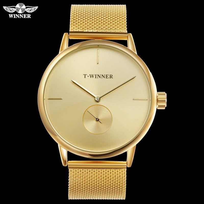 T-WINNER Men Mechanical Watches Winner Top Brand Hand Wind Stainless Steel Leather Strap Forsining Simple Man waterproof Clock