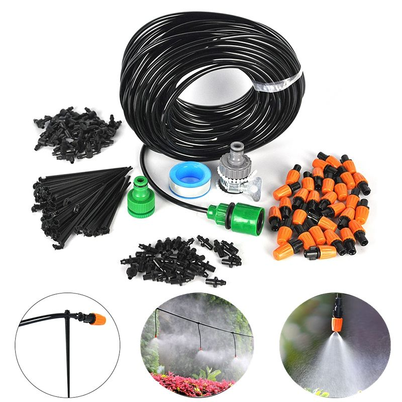 25m DIY Automatic Micro Drip Irrigation System Plant Self Watering Nozzles Garden Hose Kits With 30pcs Adjustable Dripper