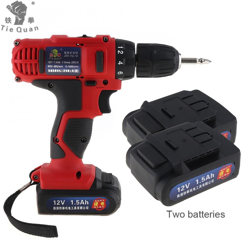 AC 100 - 240V Cordless 12V Electric Drill / Screwdriver with 2 Lithium Batteries and Two-speed Adjustment for Screws / Punching