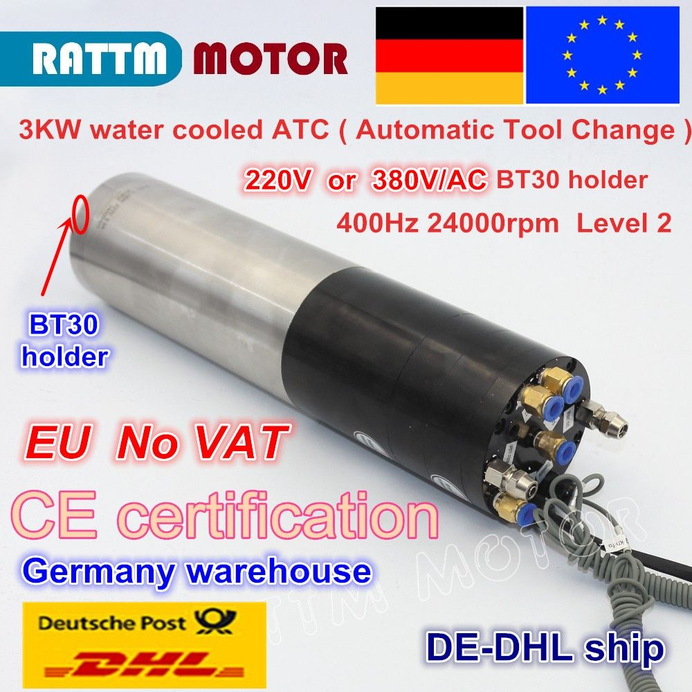 DE free 3KW ATC SPINDLE MOTOR BT30 Automatic Tool Change PERMANENT POWER 380V ELECTRIC SPINDLE FOR CNC Router MILLING MACHINE