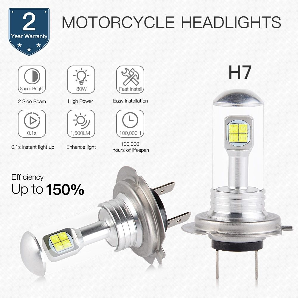 NICECNC H7 High Beam 12V-24V Head Light LED Bulb For BMW F650GS Dakar F800GS F800S F800ST HP2 Sport K1200GT ABS K1200R K1200S