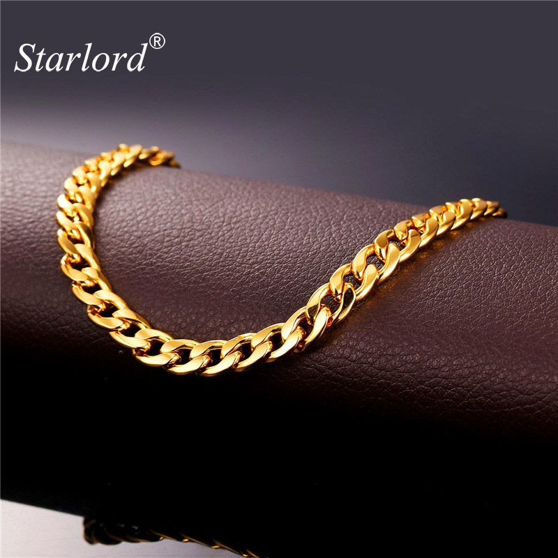 Starlord Foot Jewelry Ankle Bracelet For Women Gold Color Cuban Link Chain Anklet Bracelet On A Leg Barefoot Sandals A755