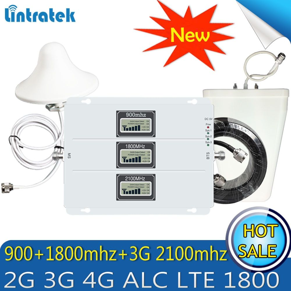 Lintratek GSM DCS WCDMA 900+1800+2100 Tri Band Mobile Signal Booster 2G 3G 4G LTE Cellular Repeater GSM 3G 4G Signal Amplifier