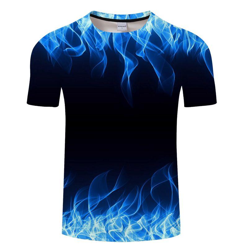 T-shirt Flaming bleu hommes femmes t-shirt 3d t-shirt noir t-shirt haut décontracté Anime Camiseta Streatwear t-shirt à manches courtes taille asiatique