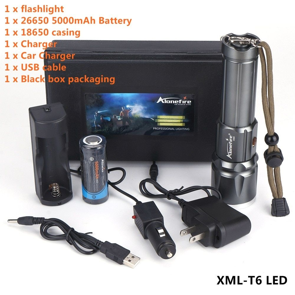 AloneFire X900 CREE XML T6 LED Zaklamp Aluminum flashlight Torch Zoom lanterna Waterproof lantern With 26650 Battery USB charge
