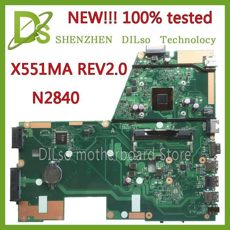 KEFU x551ma Pour ASUS X551MA Mère D'ordinateur Portable nouvelle carte mère N2840U X551MA carte mère 90NB0480-R00100 REV2.0 100% testé