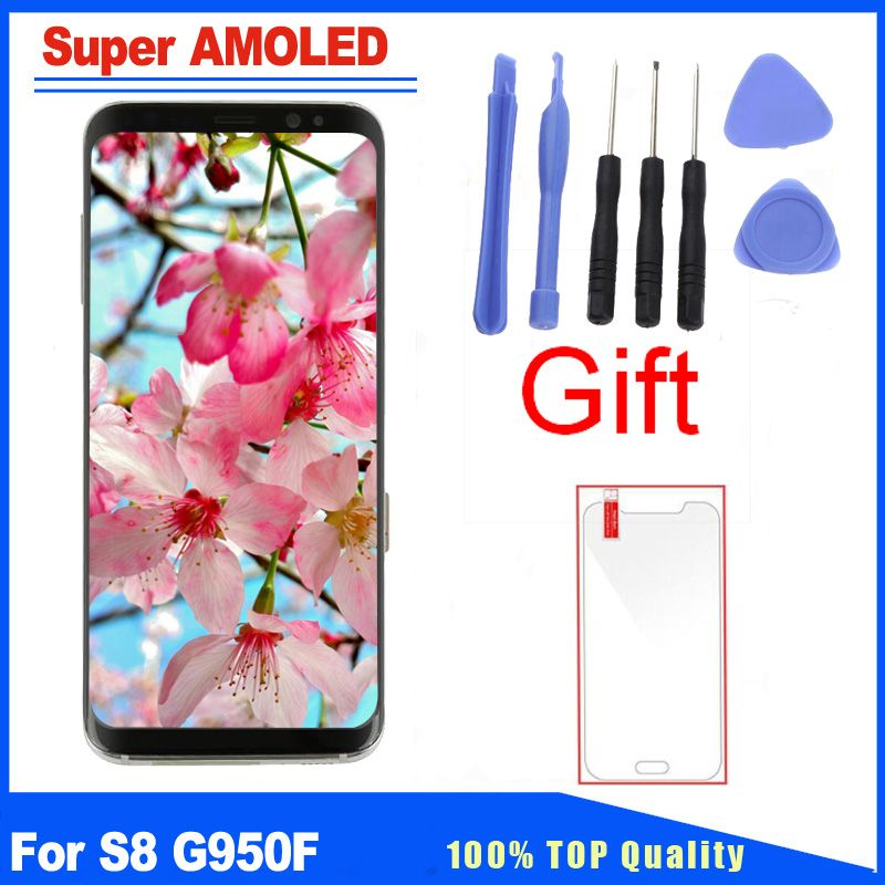 Super AMOLED Quality For Samsung Galaxy S8 G950F G950 LCD Screen Display With Frame Full Assembly Replacement