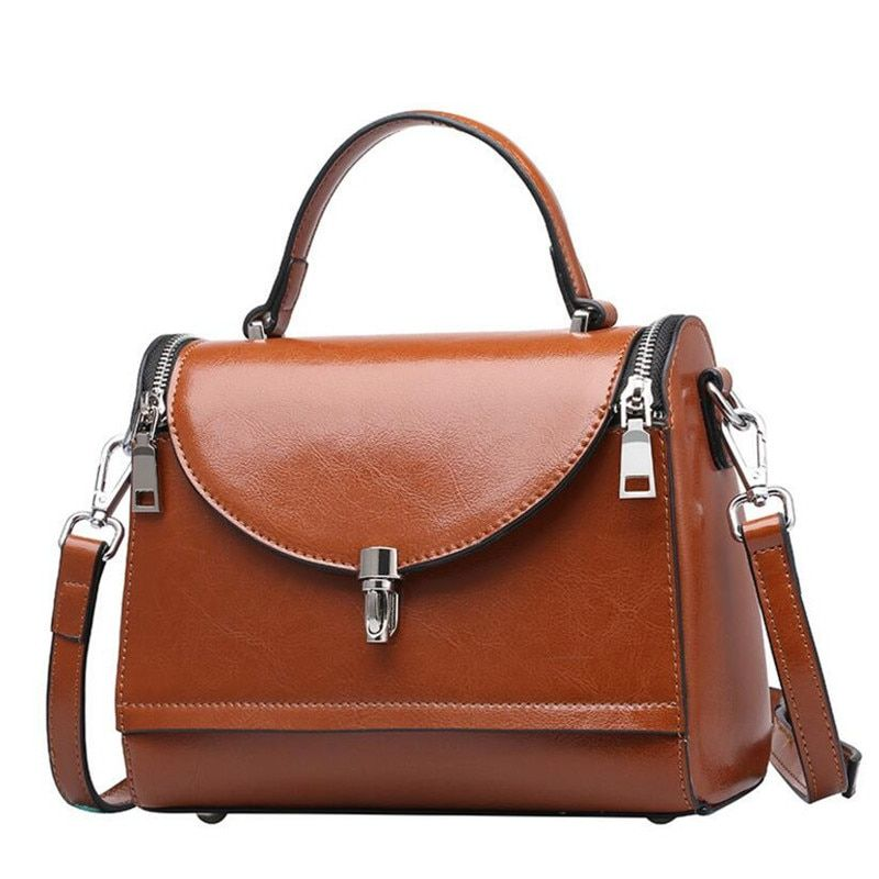 Brand Cow Split Leather Women Handbag Oil Wax Leather Shoulder Bag Casual Women Bag Fashion Europe and America Style