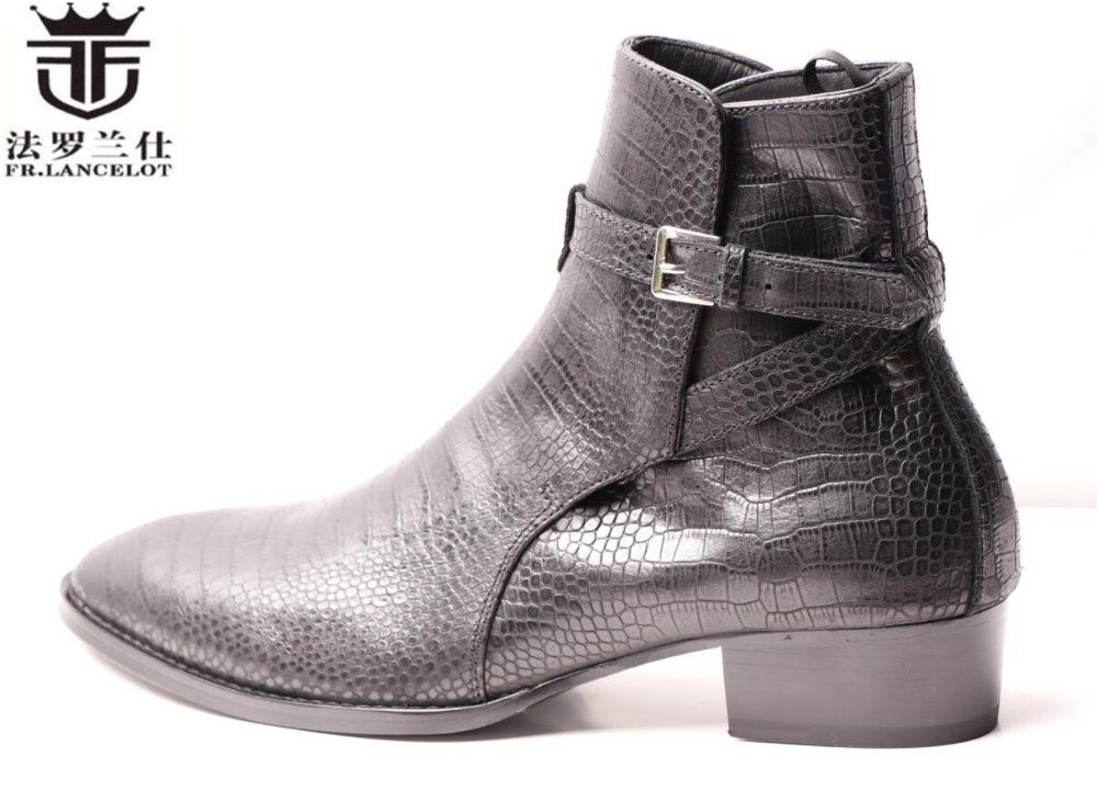 FR.LANCELOT 2018 men dress boots men snakeskin print leather boots buckle ankle booties party shoes med heel men boots