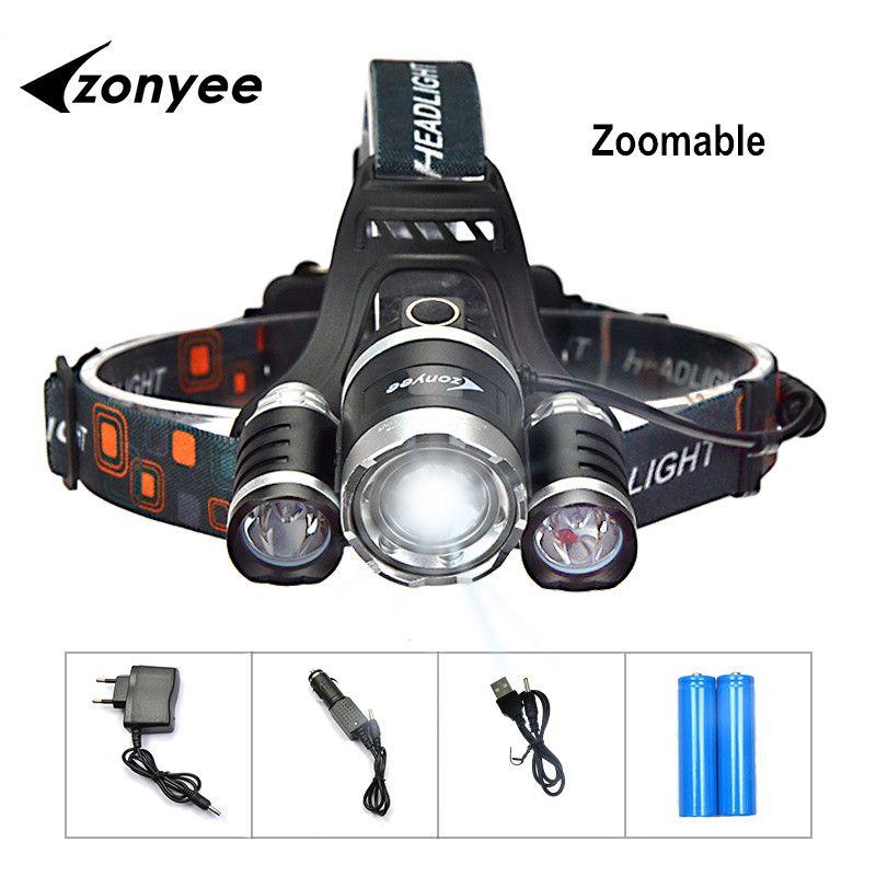 Zonyee Led Flashlight Forehead Headlamp Rechargeable Flashlight 10000 Lumen Headlight Zoom hunting flashlight Torch 3 XML-T6 LED