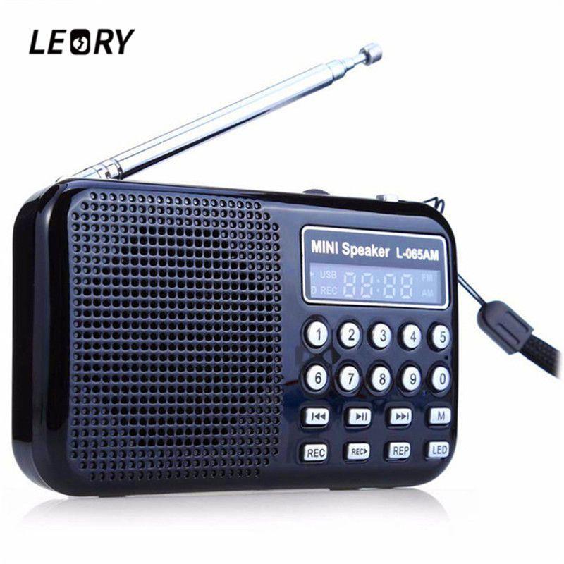 LEORY Radio FM/AM Radio Receiver MP3 Player Rechargeable USB Black Blue Red LED Flashlight Radio Recorder
