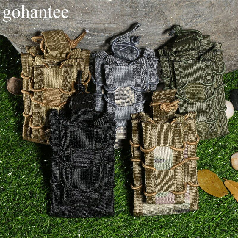 gohantee MOLLE Military Bag Tactical Magazine Pouch Stacker Double Open Top Mag Pouch Holster Hunting Flashlights Pistol 5colors