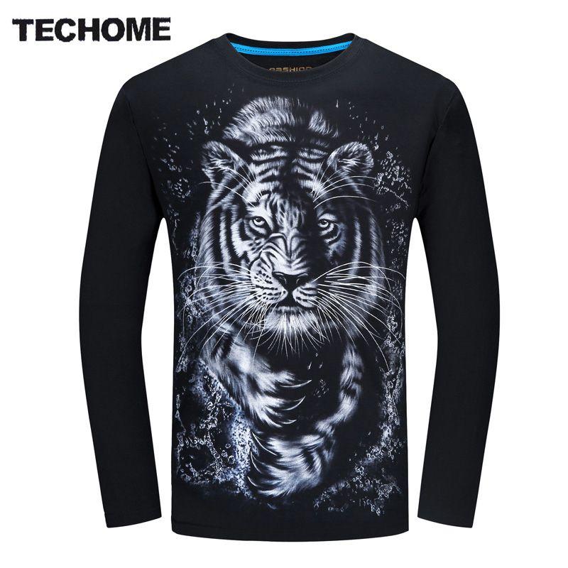 3D T Shirt Men Plus Size 6XL Cotton Tops Tee White tiger Printed Loog Sleeve Cotton T-shirt Men Hip Hop Camisetas Brand Clothing