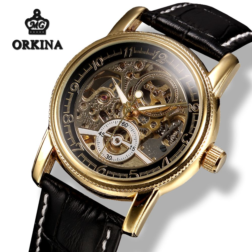 Mg.orkina Luxury Skeleton Gold Power Automatic Watch Clock Men Mechanical Self winding Black Leather Transparent Wrist Watches