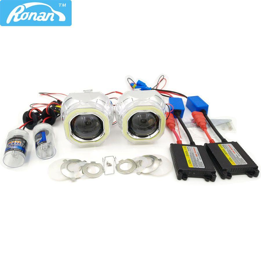 RONAN 2.5 Bixenon HID Projector headlight Lens H1 CNlight Square COB Angel eye full kit Car Styling Retrofit H4 H7 car headlamp