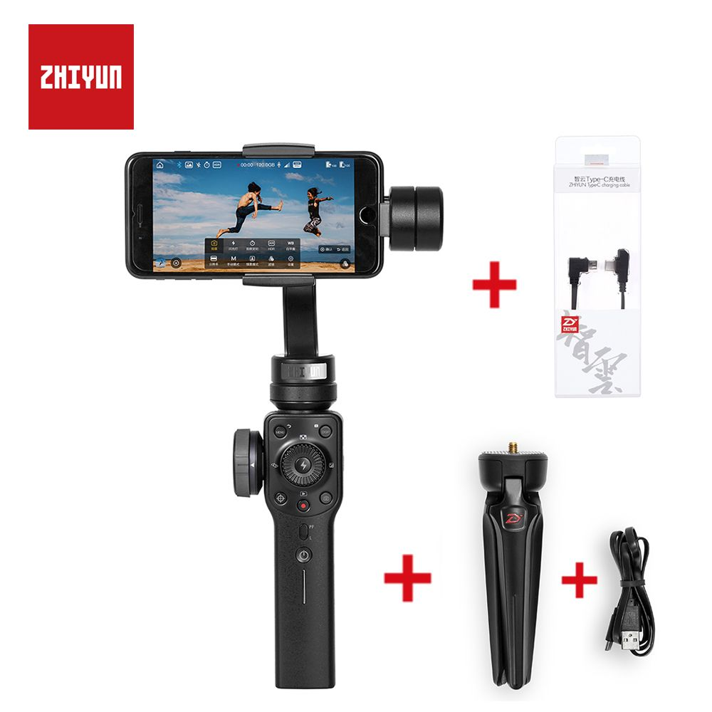 ZHIYUN Smooth Q Upgraded Version Smooth 4 3-Axis Handheld Gimbal Stabilizer for iPhone Android Phone Action Camera Steadicam