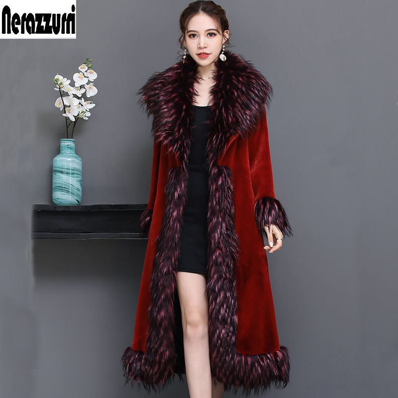 Nerazzurri Luxury runway coat women 2018 winter red furry faux fur coat women with fox fur collar plus size overcoat 5xl 6xl