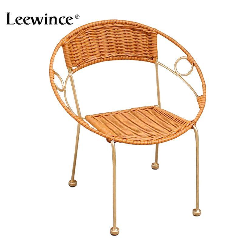 Leewince Мебель ротанга Крытый-открытый Ресторан Стека Малый Кресло Все Погоды Открытый Патио Садовые стулья