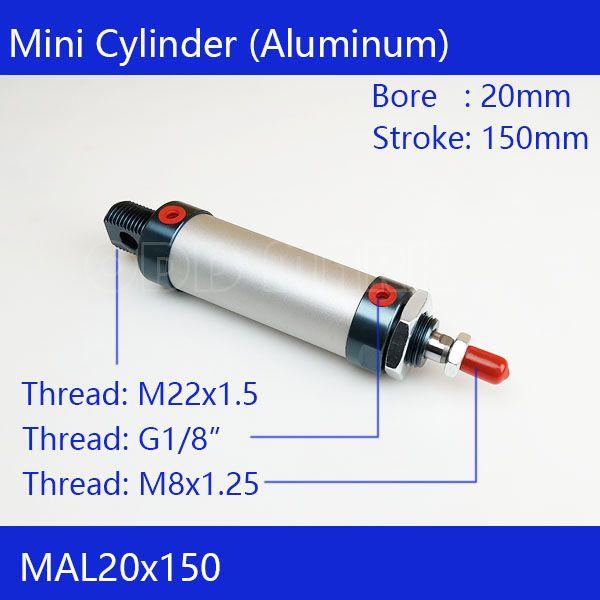 Бесплатная доставка баррель 20 мм диаметр 150 мм ход MAL20 * 150 Алюминий сплав мини-цилиндр пневматический цилиндр воздуха mal20-150