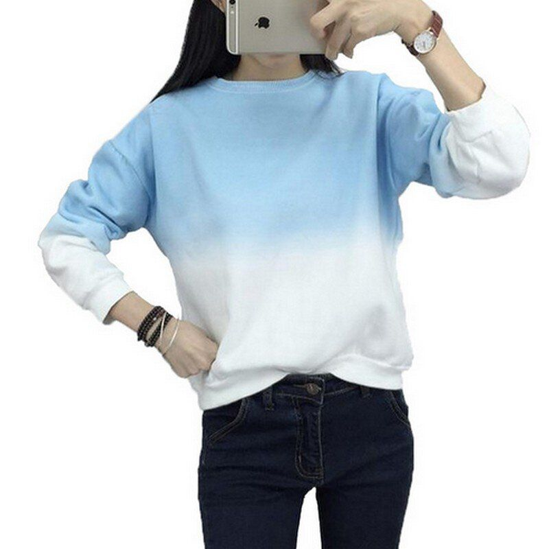 Mode À Manches Longues Sweat Slim Automne Sweats Col Rond Changement Progressif Impression Sweat-Shirt M-XXL Lâche Femmes Sweat