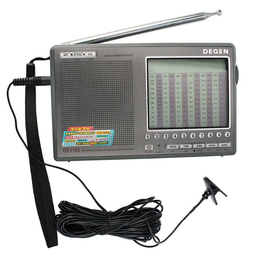 Degen DE1103 Radio DSP FM SW MW LW SSB Digital World Receiver & External Antenna FM Radio Recorder Radio Station Y4162H