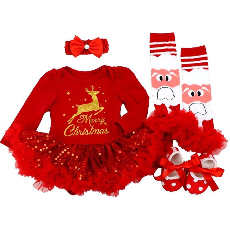 Noël 2019 nouveau-né Minnie robe 4 pièces/ensemble bébé filles vêtements enfant en bas âge fille vêtements ensemble infantile Minnie souris Costume cadeaux de noël