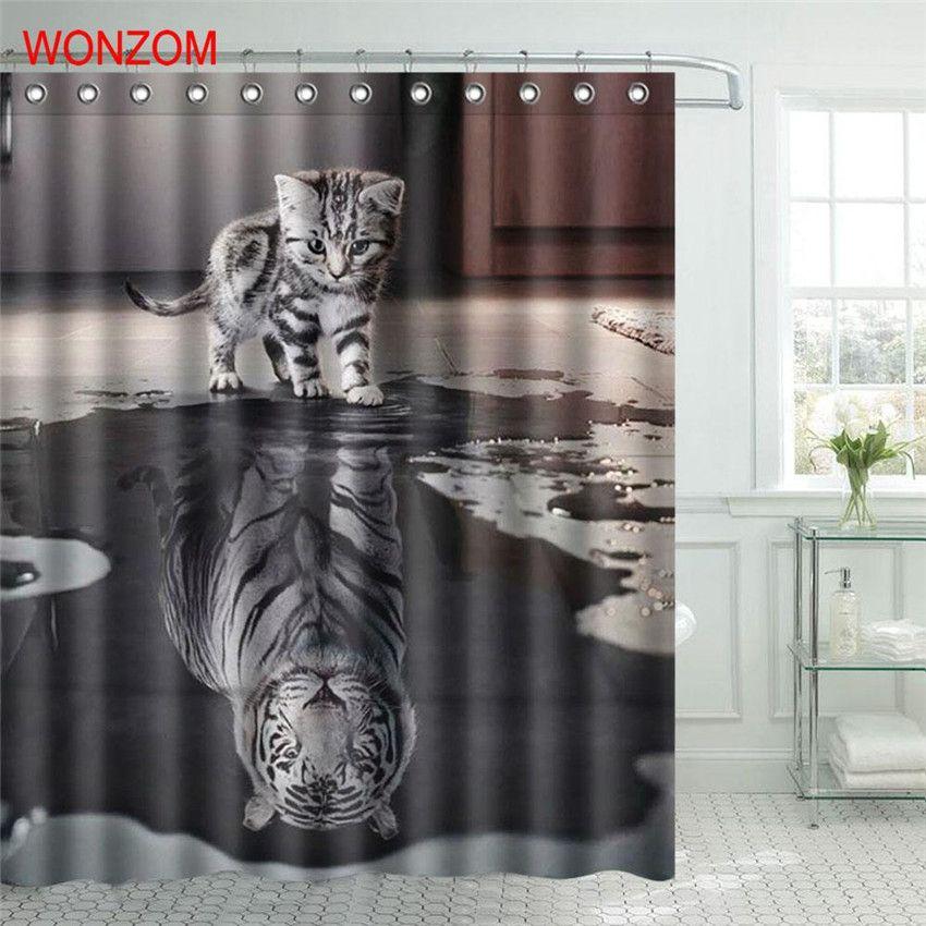 WONZOM Polyester Fabric Tiger Cat Shower Curtain Orangutan Bathroom Decor Waterproof Cortina De Bano With 12 Hooks Gift 2017