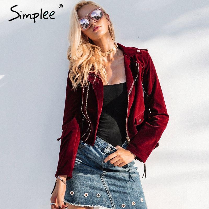 Simplee Velvet zipper jacket coat women Cool wine red motorcycle jacket 2017 new fashion winter jacket women outerwear & coats