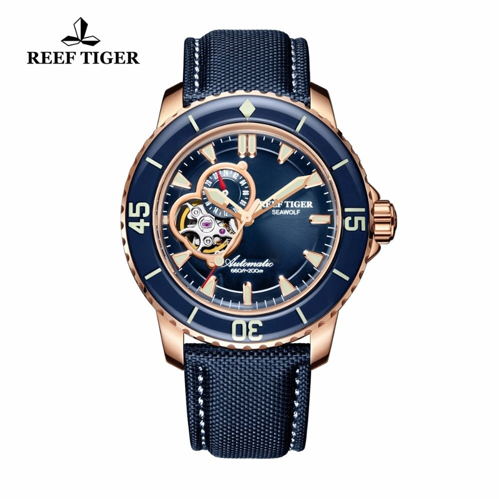 Reef Tiger/RT Luxury Dive Watches for Men Sports Rose Gold Tone Automatic Blue Nylon Strap Waterproof Watch relogio masculino