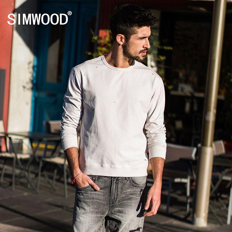 Simwood 2018 primavera nueva Sudaderas hombres moda agujero o-cuello Masajeadores de cuello sudaderas casualhigh calidad slim fit streetwear marca ropa 180007