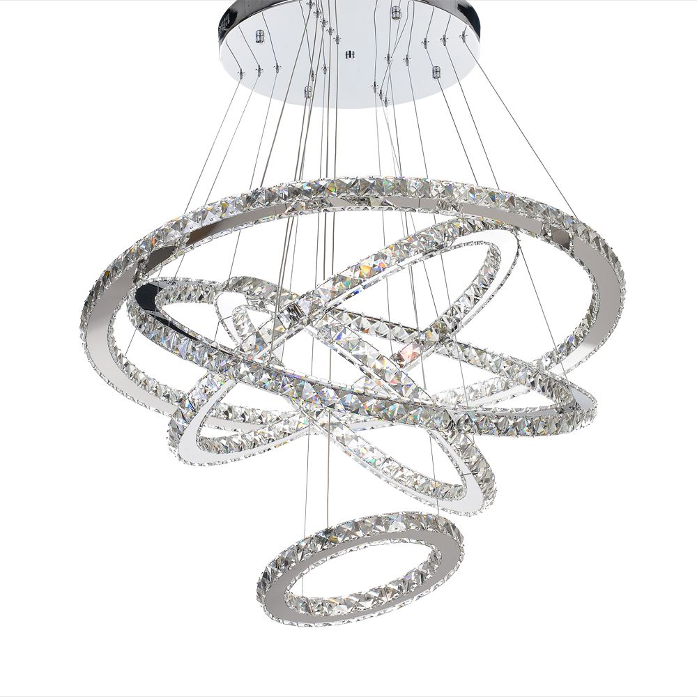 MEEROSEE Moderne LED Kronleuchter Licht Leuchte LED Kristall Ringe Hängen Lampe 5 Kreis LED Beleuchtung Treppen Lüster Lichter Montage