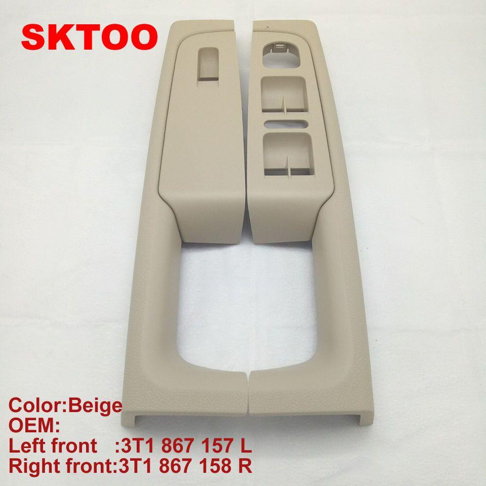 SKTOO For Skoda Superb door handle front left and right door armrest box inner handle frame, the lifter switch box Beige