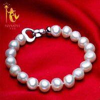 Ninfa de pulseras de joyería de perlas estilo barroco pulseras Bien joyas blanco perla de agua dulce regalo para las mujeres S007