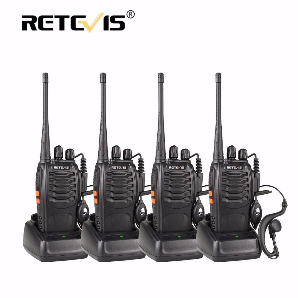 4 pcs Portable Talkie Walkie Retevis H777 16CH UHF Ham Radio Hf Émetteur-Récepteur 2 Voies cb Radio Station Communicateur Talkie-walkie Ensemble