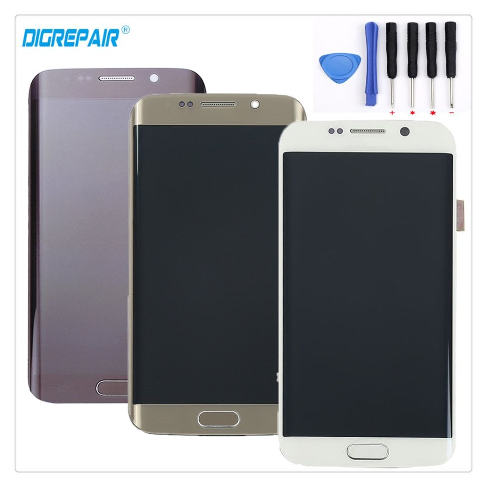 A+ White/Blue/Gold For Samsung Galaxy S6 edge SM-G925F G925I G925T G925P LCD Display Touch Screen Digitizer Assembly+Frame+Tools