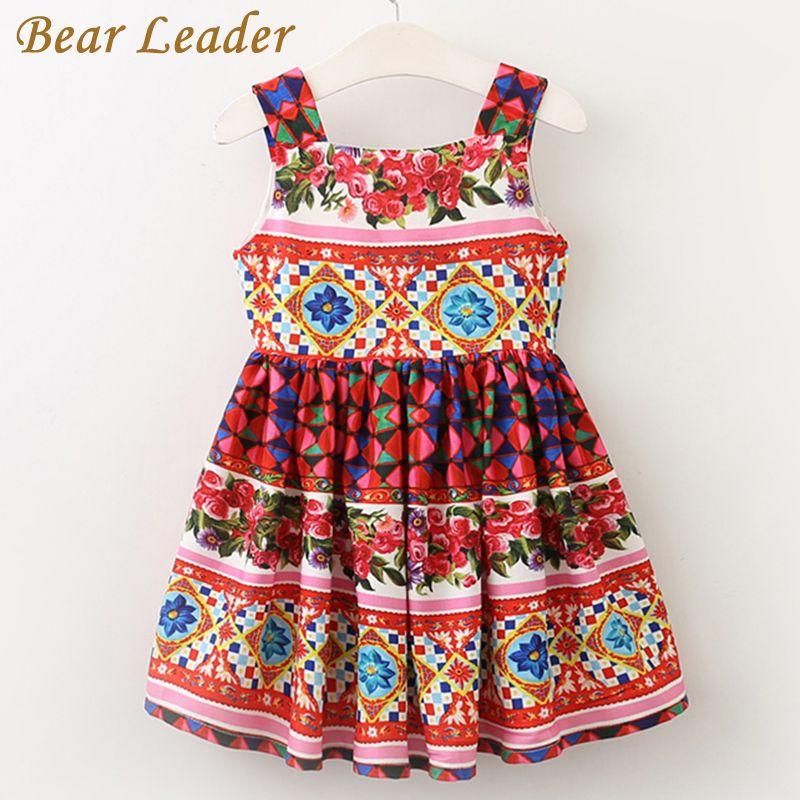 Bear Leader Girls Dress 2017 Brand European and American Style Princess Dresses Sleeveless Summer Floral Printing Design Dresses
