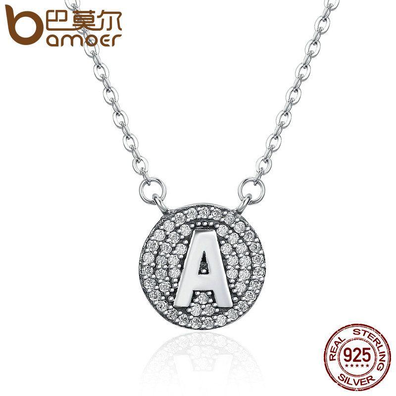 BAMOER Authentic 100% 925 Sterling Silver Unique Exquisite Letter A Alphabet Pendant Necklaces for Women Fashion Jewelry SCN141