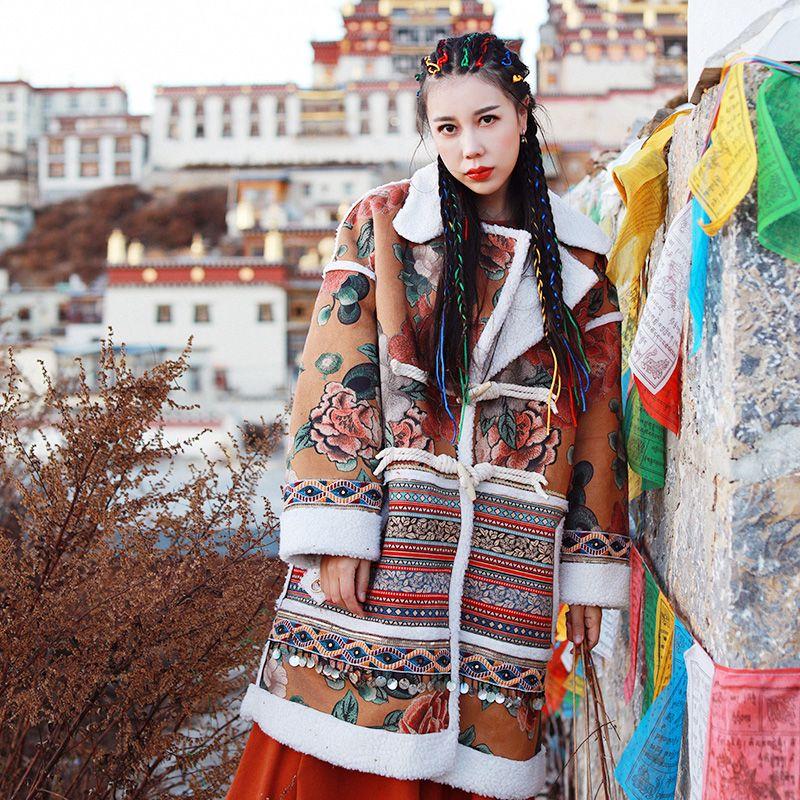 LYNETTE CHINOISERIE 2016 Nationalen trend handgemachte laciness dekoration hirschleder fleece oberbekleidung weibliche kurze jacke design