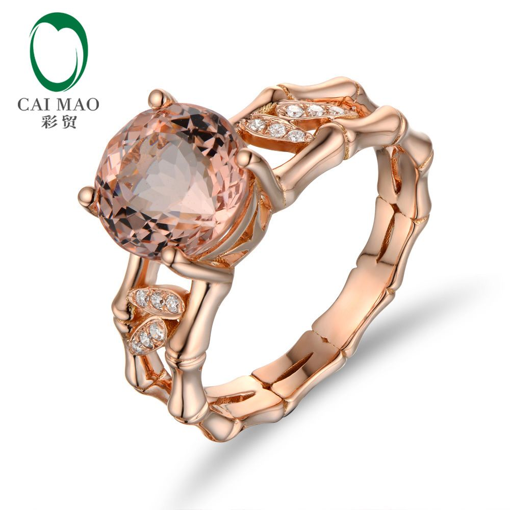 CaiMao 18KT Rose Gold 2.83 ct Natural Morganite 0.06 ct Full Cut Diamond Engagement Gemstone Ring Jewelry