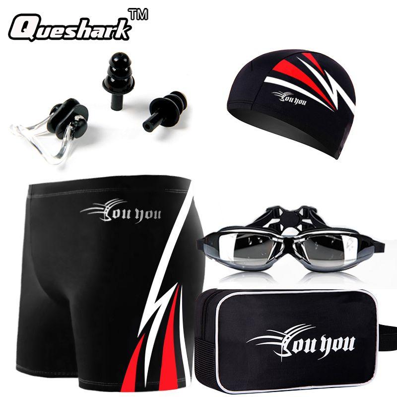 Männer Bademode Badeshorts Badehose + Anti-fog Schwimmen Brille + Ohr-stecker + Nase Pad + Bade Swim Cap Hut + Tasche Tauchen Badeanzug Set