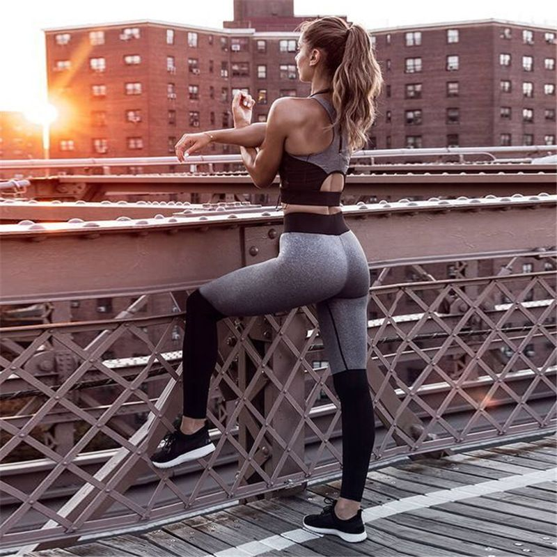 New fashion women casual fitness suits gray black patchwork cropped tops tanks and Sporting leggings pants two pieces sets suits