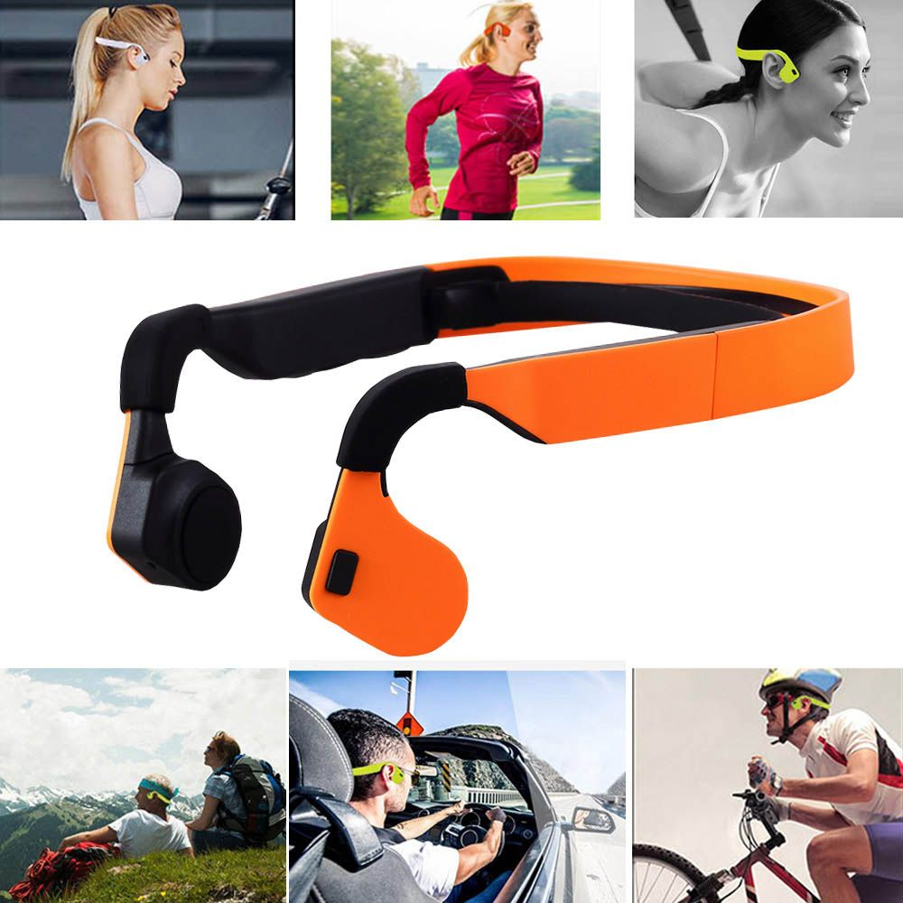 BGreen Bone Conduction Wireless Sport Bluetooth Headphone Stereo Earphone Sports Headset With Microphone Support Phone <font><b>Call</b></font>