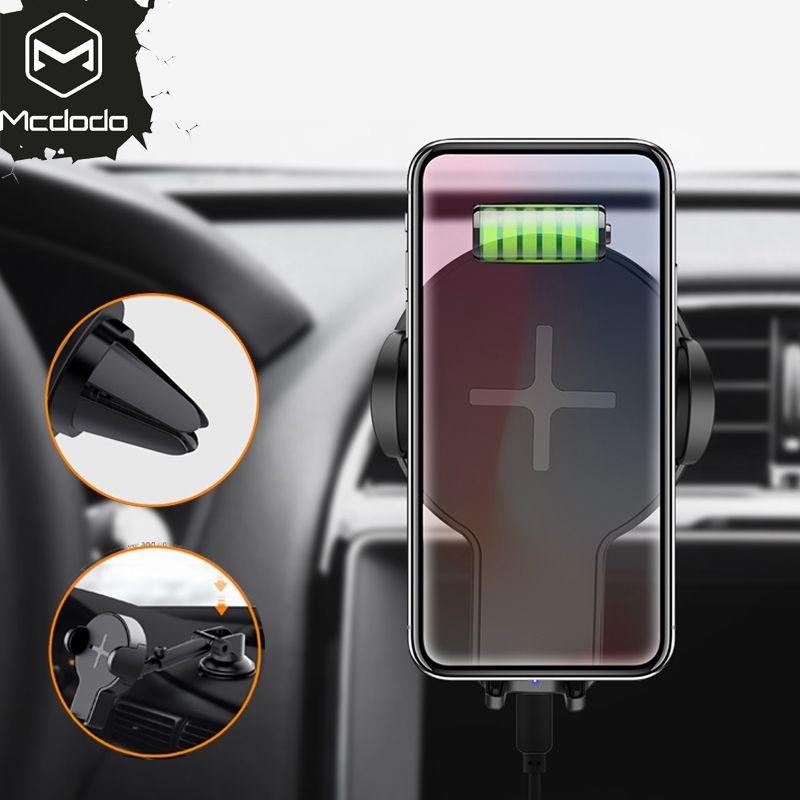 MCDODO Auto Montieren Qi Drahtlose Ladegerät Für iPhone X 8 Plus Schnell Ladung Schnell Wireless Charging Pad Auto Halter Stehen für Samsung S8