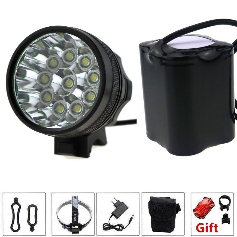 10T6 20000 Lumen 10 xCREE XM-L T6 LED Vorder Fahrrad Scheinwerfer Scheinwerfer + 20000 mAh 4*26650 Akku & ladegerät