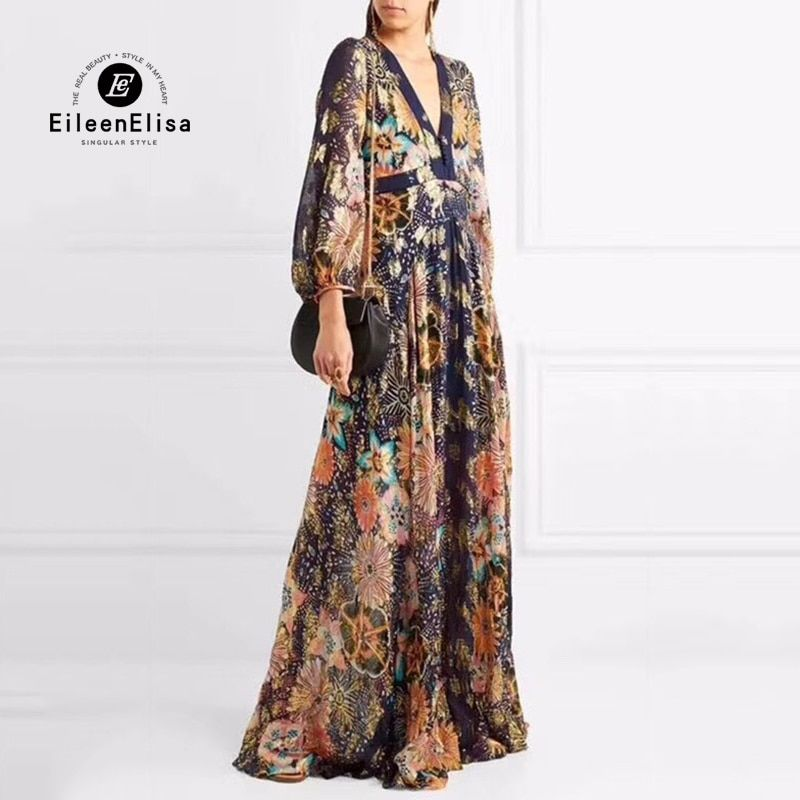 Ladies Silk Long Dresses Elegant 2018 Spring Women V-neck Dresses Empire Floor Lenght Dresses Luxury