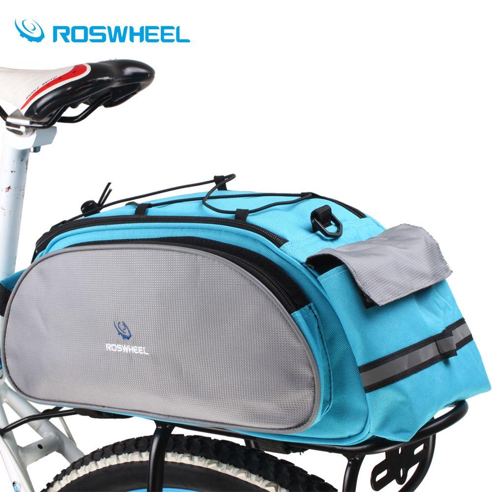 Roswheel Bicycle Bag <font><b>Multifunction</b></font> 13L Bike Tail Rear Bag Saddle Cycling Bicicleta Basket Rack Trunk Bag Shoulder Handbag