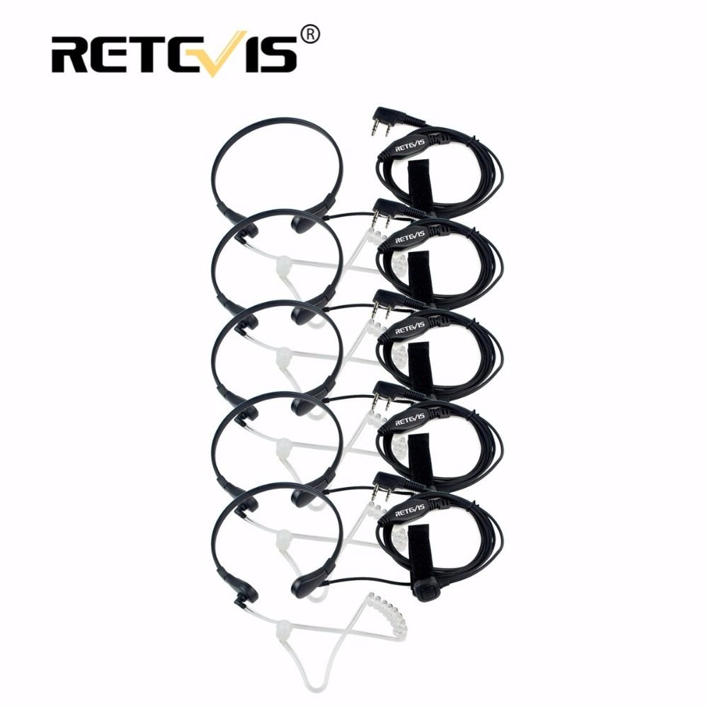 5pcs Retevis Throat Mic Earpiece PTT Headset Walkie Talkie Accessories For Baofeng UV 5R UV-82 For Kenwood For TYT for Puxing