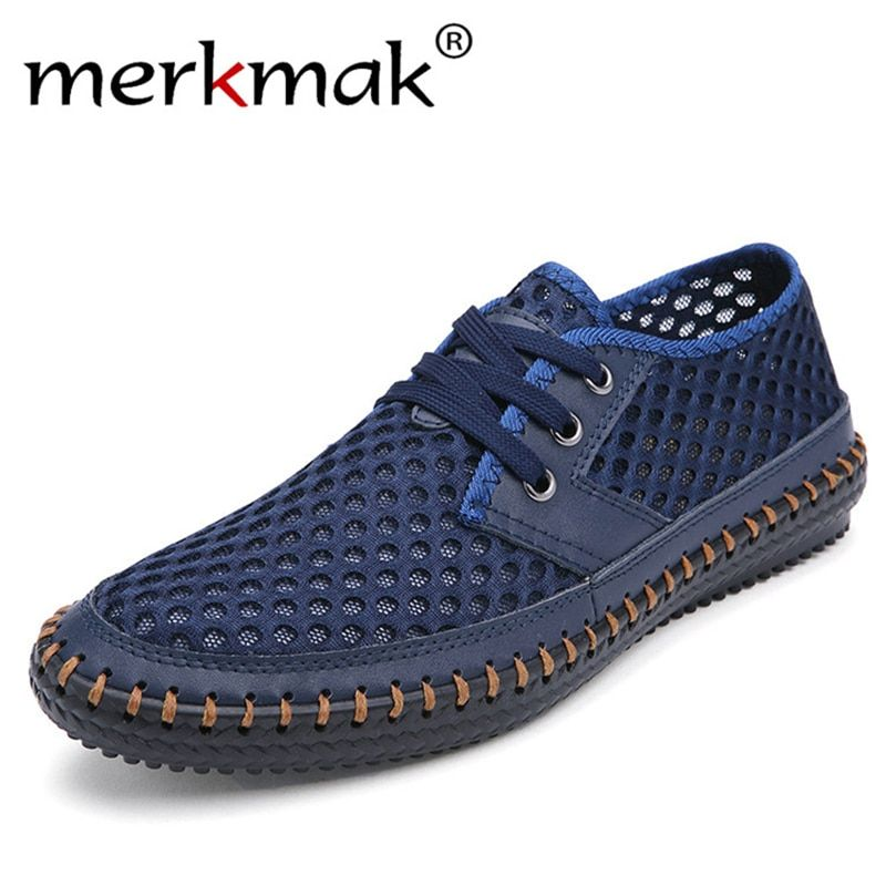 Drop Ship Breathable Men's Casual Shoes Summer Shoes 2018 Fashion Breathable Mesh Shoes Zapatos <font><b>Hombre</b></font> Plus Size 38-48 Footwear