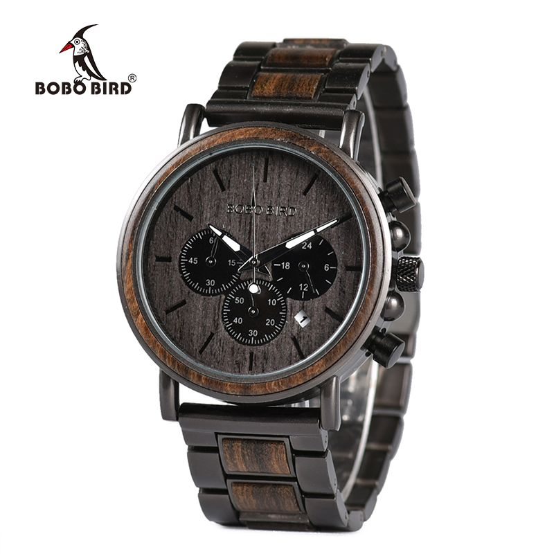 BOBO BIRD Wood Watch Men Stopwatch erkek kol saati Wooden Wristwatches Male Show Date Create Gift saat erkek