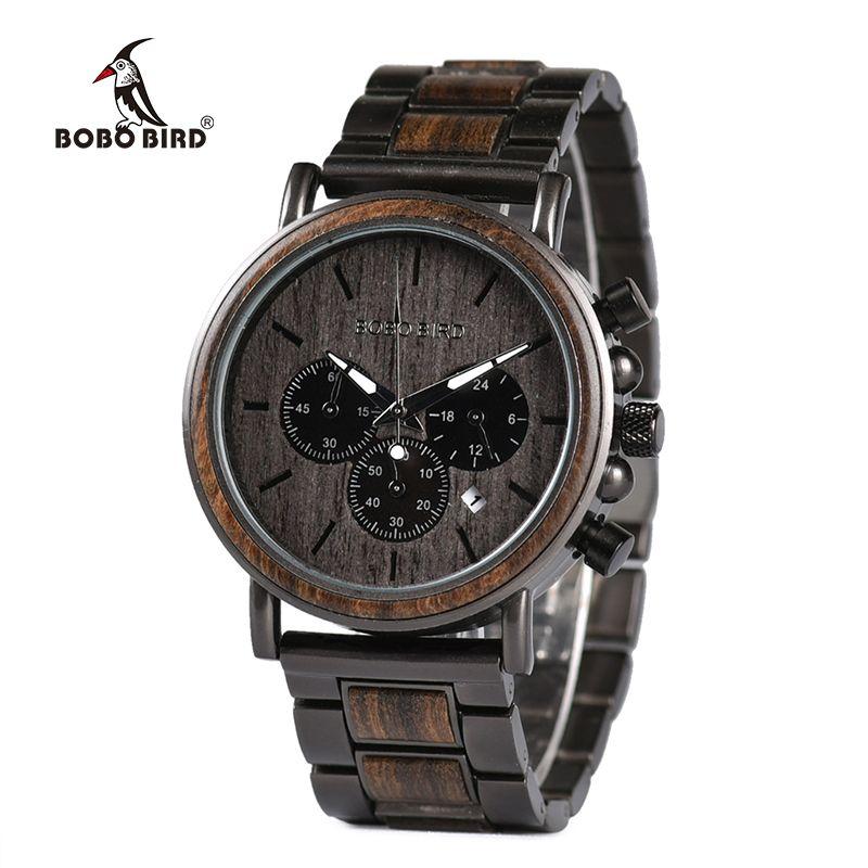 BOBO BIRD Wood Watch Men Stopwatch erkek kol saati Wooden Wristwatches Male Show Date Create Gift  saat erkek